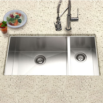 Houzer Contempo 70/30 Double Bowl Stainless Steel Sink