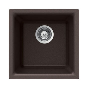Houzer Quartztone Granite Bar/Prep, Dual Mount in Deep Mocha Color, 15-3/4'' W x 15-3/4'' D, 8-1/16'' Bowl Depth