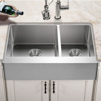 "Houzer Epicure Series Apron Front 60/40 Double Bowl Kitchen Sink in Satin Stainless Steel, 33"" W x 20"" D, 10"" Bowl Depth"