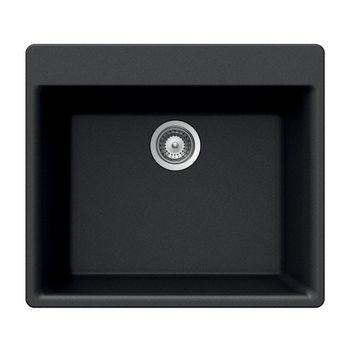 Houzer Quartztone Granite Topmount Single Bowl in Midnite Color, 23-5/8'' W x 20-7/8'' D, 8-11/16'' Bowl Depth