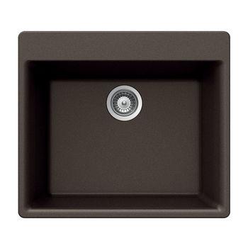 Houzer Quartztone Granite Topmount Single Bowl in Mocha Color, 23-5/8'' W x 20-7/8'' D, 8-11/16'' Bowl Depth