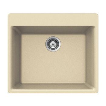 Houzer Quartztone Granite Topmount Single Bowl in Sand Color, 23-5/8'' W x 20-7/8'' D, 8-11/16'' Bowl Depth