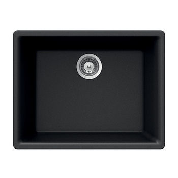 Houzer Quartztone Granite Undermount Single Bowl in Midnite Color, 23-5/8'' W x 18-5/16'' D, 8-11/16'' Bowl Depth