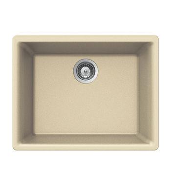 Houzer Quartztone Granite Undermount Single Bowl in Sand Color, 23-5/8'' W x 18-5/16'' D, 8-11/16'' Bowl Depth