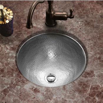 Houzer Hammerwerks Clic Round Flat Lip Sink W Overflow 15 Dia X 6 H Rous Pewter