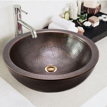 "Houzer Hammerwerks Series Round Double Wall Vessel Bathroom Sink in Antique Copper, 16-1/2"" Diameter x 5"" Bowl Depth, 6-3/4"" H"