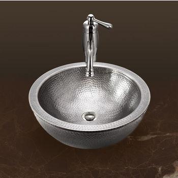 "Houzer Hammerwerks Series Round Double Wall Vessel Bathroom Sink in Lustrous Pewter, 16-1/2"" Diameter x 5"" Bowl Depth, 6-3/4"" H"