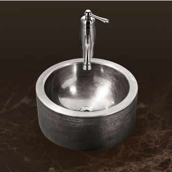 "Houzer Hammerwerks Series Round Vessel Bathroom Sink with Apron in Lustrous Pewter, 15"" Diameter x 5-1/4"" Bowl Depth, 6-1/4"" H"