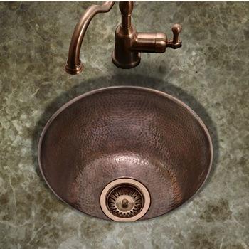 """Houzer Hammerwerks Series Round Bar/Prep Kitchen Sink in Antique Copper, 16"""" Diameter x 8"""" Bowl Depth"""
