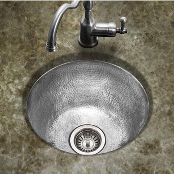 """Houzer Hammerwerks Series Round Bar/Prep Kitchen Sink in Lustrous Pewter, 16"""" Diameter x 8"""" Bowl Depth"""