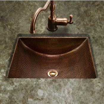 """Houzer Hammerwerks Series Concave Undermount Lavatory Bathroom Sink in Antique Copper, 20-1/2"""" W x 17"""" D, 6"""" Bowl Depth"""