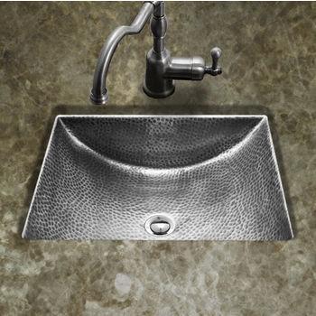 "Houzer Hammerwerks Series Concave Undermount Lavatory Bathroom Sink in Lustrous Pewter, 20-1/2"" W x 17"" D, 6"" Bowl Depth"