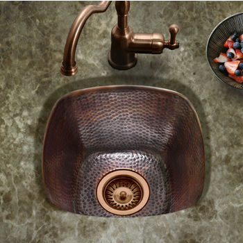 "Houzer Hammerwerks Series Large Square Bar/Prep Kitchen Sink in Antique Copper, 15"" W x 15"" D, 7-1/2"" Bowl Depth"