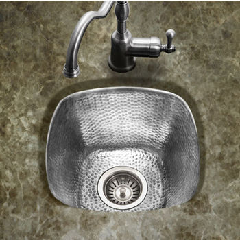 "Houzer Hammerwerks Series Large Square Bar/Prep Kitchen Sink in Lustrous Pewter, 15"" W x 15"" D, 7-1/2"" Bowl Depth"