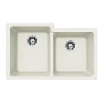Houzer Quartztone Granite Undermount 60/40 Double Bowl in Cloud Color, 33'' W x 20-1/2'' D, 9-1/2'' Bowl Depth