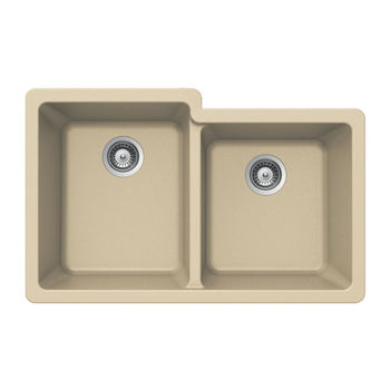 Houzer Quartztone Granite Undermount 60/40 Double Bowl in Sand Color, 33'' W x 20-1/2'' D, 9-1/2'' Bowl Depth
