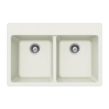 Houzer Quartztone Granite Topmount 50/50 Double Bowl in Cloud Color, 33'' W x 22'' D, 9-1/2'' Bowl Depth