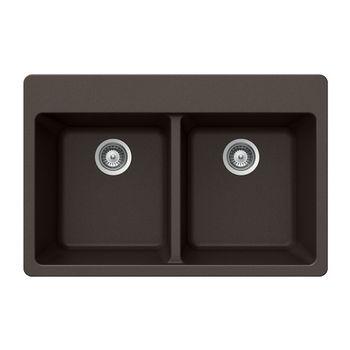 Houzer Quartztone Granite Topmount 50/50 Double Bowl in Mocha Color, 33'' W x 22'' D, 9-1/2'' Bowl Depth