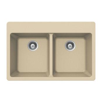 Houzer Quartztone Granite Topmount 50/50 Double Bowl in Sand Color, 33'' W x 22'' D, 9-1/2'' Bowl Depth