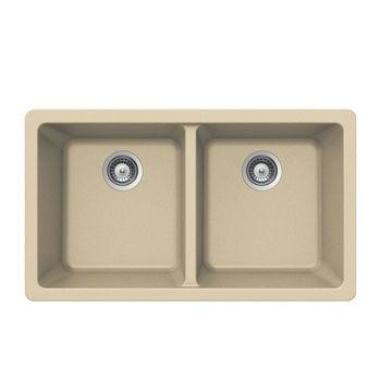 Houzer Quartztone Granite Undermount 50/50 Double Bowl in Sand Color, 33'' W x 18-1/2'' D, 9-1/2'' Bowl Depth