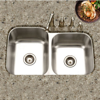 Houzer Medallion Classic Series 60/40 Undermount Double Bowl Sink