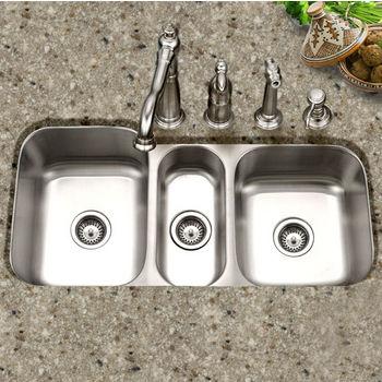 Houzer Medallion Gourmet Series Undermount Triple Bowl Sink