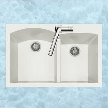 "Houzer Quartztone Granite Series Topmount 60/40 Double Bowl Kitchen Sink in Cloud Color, 33"" W x 22"" D, 9-1/2"" Bowl Depth"