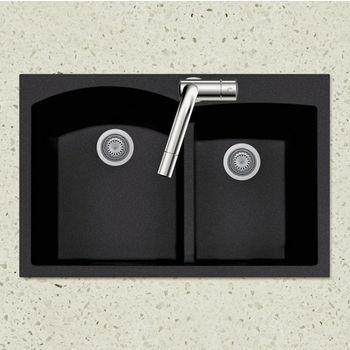 "Houzer Quartztone Granite Series Topmount 60/40 Double Bowl Kitchen Sink in Midnite Color, 33"" W x 22"" D, 9-1/2"" Bowl Depth"