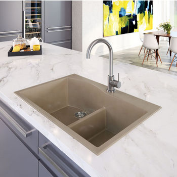 "Houzer Quartztone Granite Series Topmount 60/40 Double Bowl Kitchen Sink in Taupe Color, 33"" W x 22"" D, 9-1/2"" Bowl Depth"