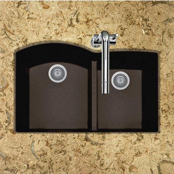 "Houzer Quartztone Granite Series Undermount 60/40 Double Bowl Kitchen Sink in Mocha Color, 33"" W x 20-6/8"" D, 9-1/2"" Bowl Depth"