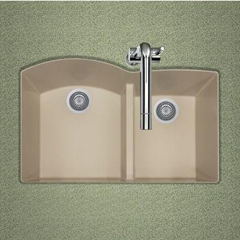 "Houzer Quartztone Granite Series Undermount 60/40 Double Bowl Kitchen Sink in Sand Color, 33"" W x 20-6/8"" D, 9-1/2"" Bowl Depth"