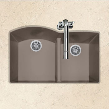 "Houzer Quartztone Granite Series Undermount 60/40 Double Bowl Kitchen Sink in Taupe Color, 33"" W x 20-6/8"" D, 9-1/2"" Bowl Depth"