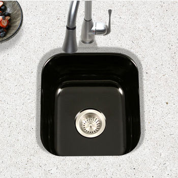 Houzer Porcela Collection Porcelain Enamel Steel Undermount Square Bar Sink in Black Color, 15-5/8'' W x 17-5/16'' D, 8'' Bowl Depth