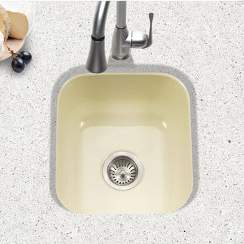 Houzer Porcela Collection Porcelain Enamel Steel Undermount Square Bar Sink in Biscuit Color, 15-5/8'' W x 17-5/16'' D, 8'' Bowl Depth