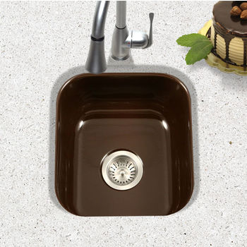 Houzer Porcela Collection Porcelain Enamel Steel Undermount Square Bar Sink in Espresso Color, 15-5/8'' W x 17-5/16'' D, 8'' Bowl Depth