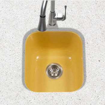 Houzer Porcela Collection Porcelain Enamel Steel Undermount Square Bar Sink in Lemon Color, 15-5/8'' W x 17-5/16'' D, 8'' Bowl Depth