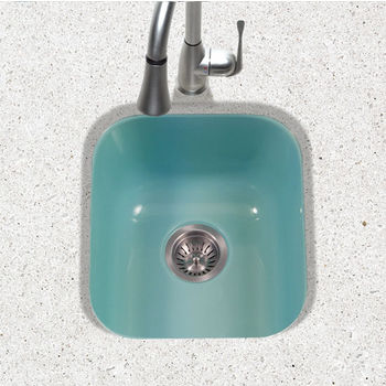 Houzer Porcela Collection Porcelain Enamel Steel Undermount Square Bar Sink in Mint Color, 15-5/8'' W x 17-5/16'' D, 8'' Bowl Depth