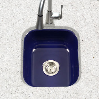 Houzer Porcela Collection Porcelain Enamel Steel Undermount Square Bar Sink in Navy Blue Color, 15-5/8'' W x 17-5/16'' D, 8'' Bowl Depth
