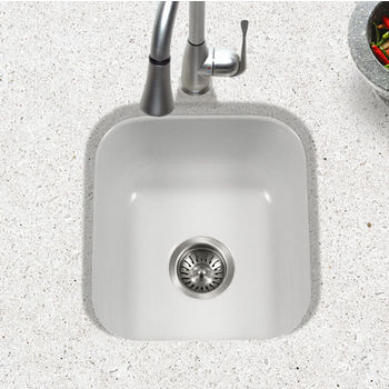 Houzer Porcela Collection Porcelain Enamel Steel Undermount Square Bar Sink in White Color, 15-5/8'' W x 17-5/16'' D, 8'' Bowl Depth