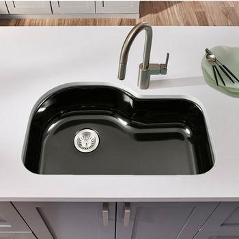 Houzer Porcela Collection Porcelain Enamel Steel Designer Offset Undermount Single Bowl in Black Color, 31-1/4'' W x 20-11/16'' D, 9'' Bowl Depth