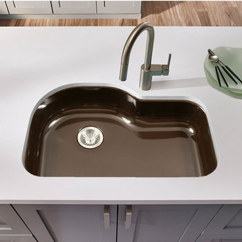 Houzer Porcela Collection Porcelain Enamel Steel Designer Offset Undermount Single Bowl in Espresso Color, 31-1/4'' W x 20-11/16'' D, 9'' Bowl Depth
