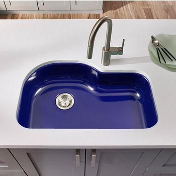 Houzer Porcela Collection Porcelain Enamel Steel Designer Offset Undermount Single Bowl in Navy Blue Color, 31-1/4'' W x 20-11/16'' D, 9'' Bowl Depth