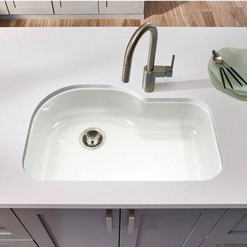 Houzer Porcela Collection Porcelain Enamel Steel Designer Offset Undermount Single Bowl in White Color, 31-1/4'' W x 20-11/16'' D, 9'' Bowl Depth