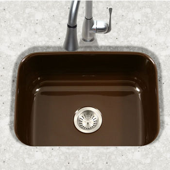 Houzer Porcela Collection Porcelain Enamel Steel Undermount Single Bowl in Espresso Color, 22-3/4'' W x 17-3/8'' D, 9'' Bowl Depth