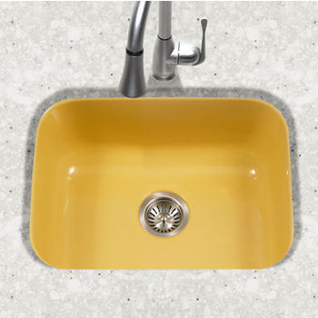 Houzer Porcela Collection Porcelain Enamel Steel Undermount Single Bowl in Lemon Color, 22-3/4'' W x 17-3/8'' D, 9'' Bowl Depth