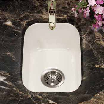 Houzer Platus Series Fireclay Undermount Rectangular Bar Sink, Biscuit Finish, 12-1/4''W x 18-1/8''D x 6-5/16''H