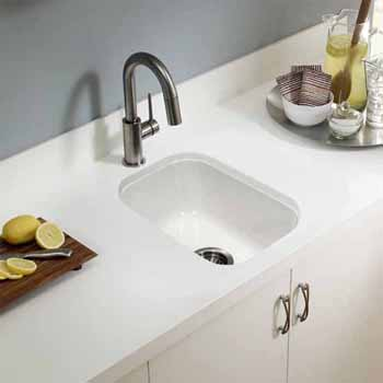 Houzer Platus Series Fireclay Undermount Rectangular Bar Sink, White Finish, 12-1/4''W x 18-1/8''D x 6-5/16''H