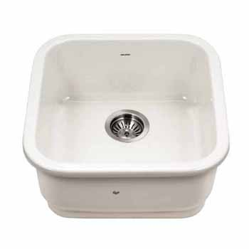 Houzer Platus Series Fireclay Undermount Square Bar Sink, Biscuit Finish, 18-7/8''W x 18-7/8''D x 7''H