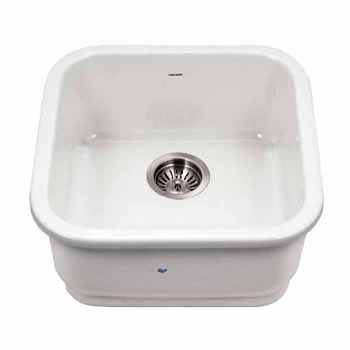 Houzer Platus Series Fireclay Undermount Square Bar Sink, White Finish, 18-7/8''W x 18-7/8''D x 7''H