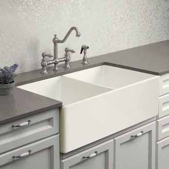Houzer Platus Series Fireclay Apron Front or Undermount Double Bowl Kitchen Sink, Biscuit Finish, 33''W x 20''D x 9-1/4''H
